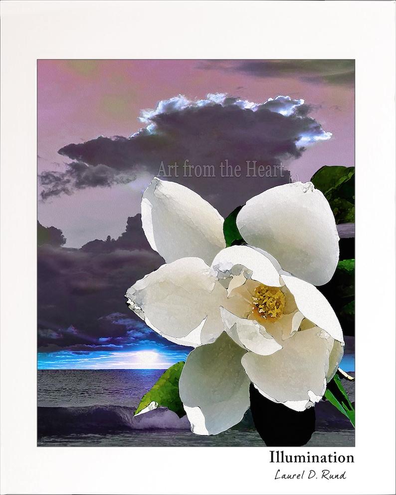 Illumination Is A White Magnolia Set In A Purple Beach Sunset Etsy