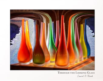THROUGH LOOKING GLASS, Abstract art, colorful wine bottles, wine decanters, surreal glass, art lovers gift, housewarming gift