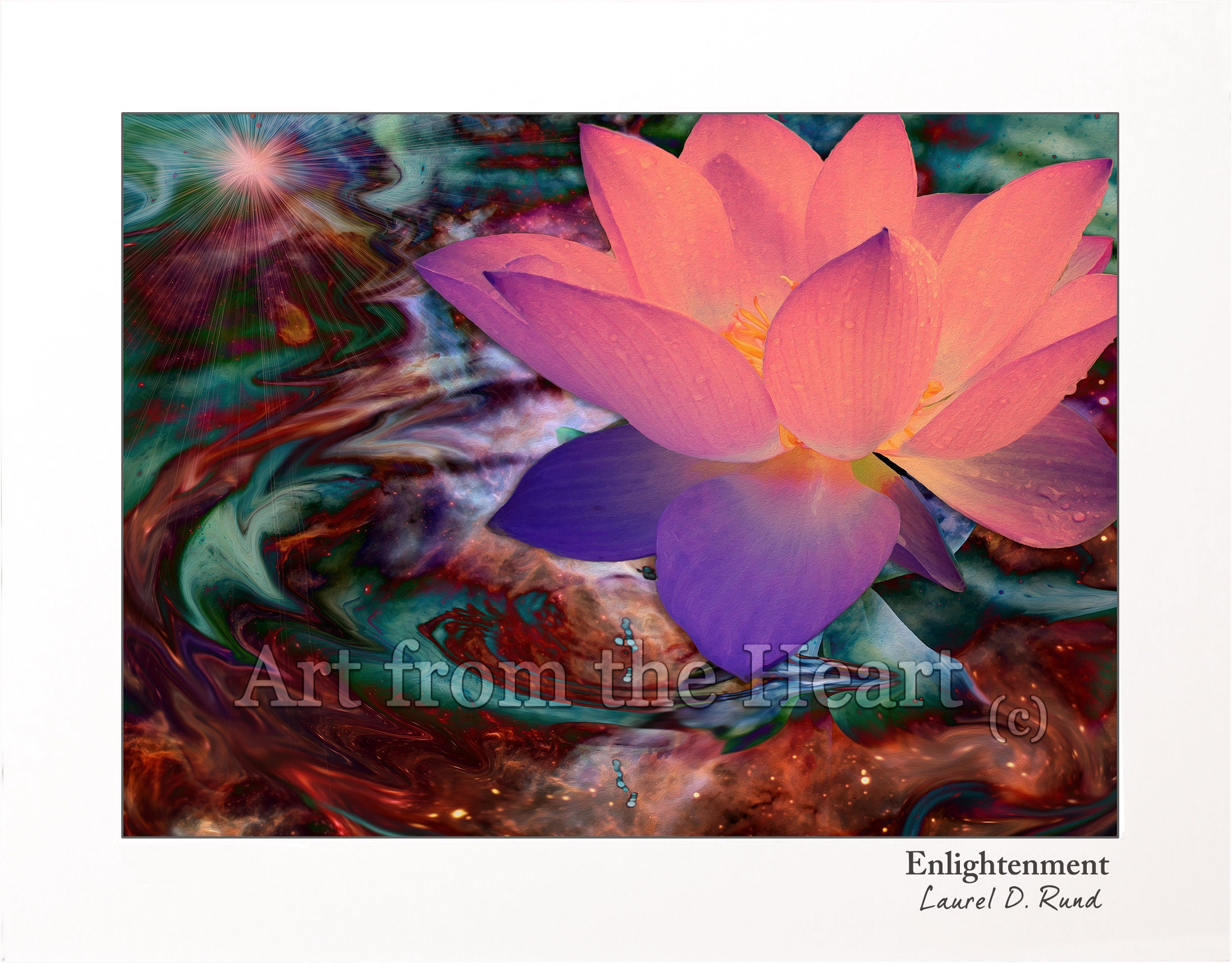 Lotus Flower Art Spiritual Art Enlightenment Pink Lotus Etsy