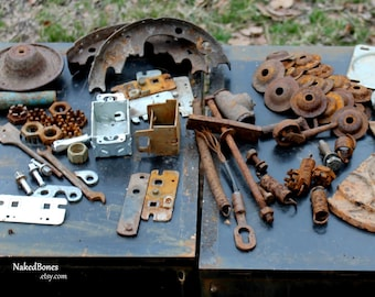 Rusty Metal Pieces - Cup Washers - Castellated Nuts - Springs - Cast Iron - Bolts - Flats - Pot Metal - Aluminum - Assemblage