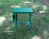Metal Typing Table - Drop Leaf - Mid Century - Plant Stand - Side Table - Industrial - Shabby Green