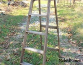 6 Foot Wooden Step Ladder - 5 Step Ladder - Well Used - Shabby - Stained - Paint Dripped