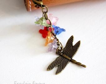 Planercharm Fairy Garden Dragonfly flowers bronze charm Travelers Notebook Boho vintage Plannercharm