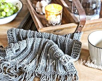 Tischläufer COZY Grau Modern Boho Tischdecke Strickdecke Handmade Bohemien Scandi Fransen Grau