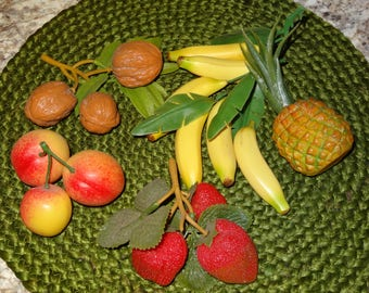 Fake Fruit / Faux Fruit / Fake Strawberries / Fake Pineapple / Fake Bananas / Fake Peaches / Fake Walnuts / Fake Foliage