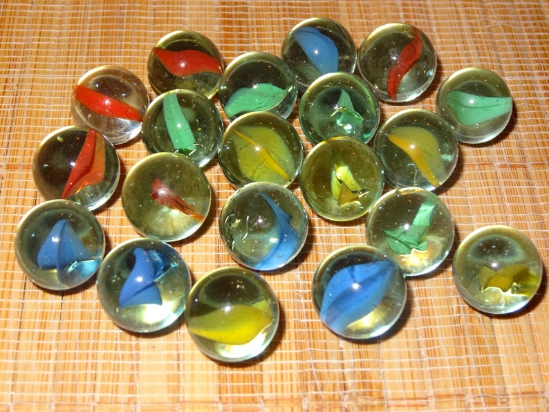 Lot of 20 Blue Marbles  58  Glass Marbles  Craft Supplies   Game Marbles  Decorative  Collectible  Toy Marbles  Marble Lots