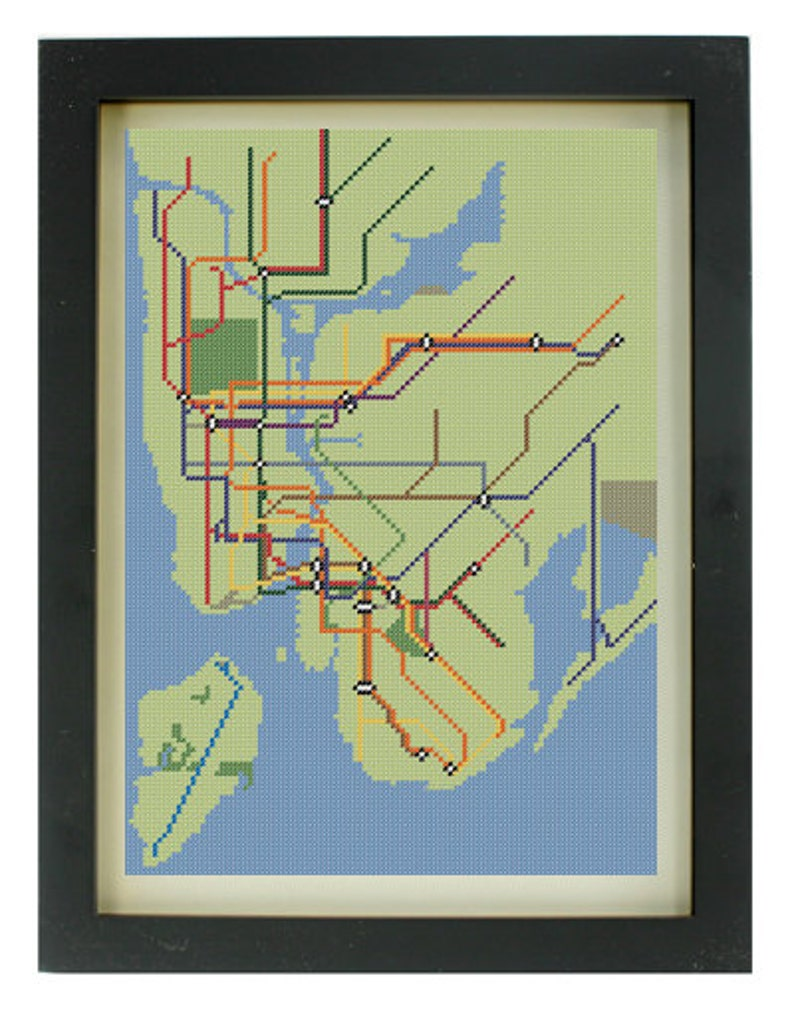 Custom Art Nyc Subway Map.Custom Nyc Subway Map Cross Stitch Pattern