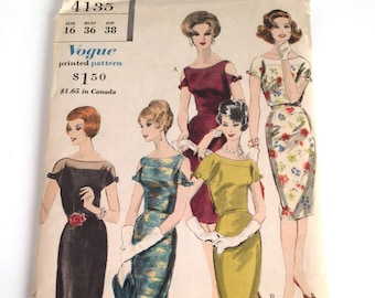 """Vintage 60s Sewing Pattern, Vogue Special Design, Vintage Vogue Pattern 4135, 60s Dress Pattern, 2 Styles, B36"""" W28"""", Uncut Sewing Patterns"""