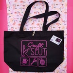 Craft Slut organic canvas project bag, in black and neon pink