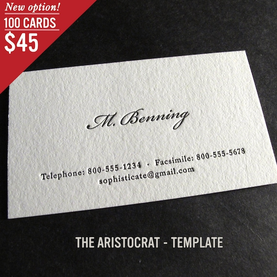 100 custom letterpress business cards the aristocrat etsy image 0 colourmoves