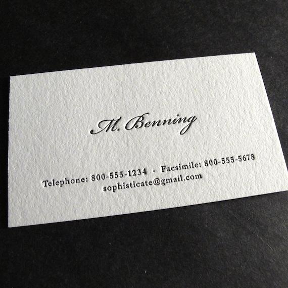 500 Custom Letterpress Business Cards The Aristocrat Etsy