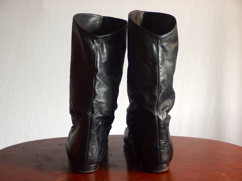 Vintage 80s BANDITOS Black Moc Croc Pirate Slouch Ankle Boots Booties 88.5