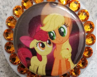 Apple Jack My Little Pony Swarovski Crystal Bling Retractable ID Badge