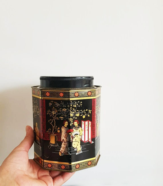 Beautiful Oriental Tin Canister Large Container Japan Motif Shabby Tin Decorative Box Kitchen Oriental Decor Black Tin Mid Century Tea Box