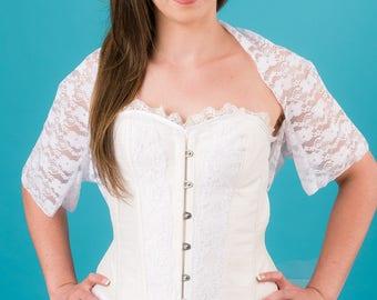 Al006 white lace wedding Bolero