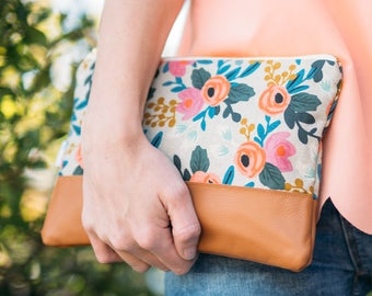 Leather Clutch Purse, Rosa Floral Clutch, Rifle Paper Co Fabric Bag, Bridesmaid Clutch, Neutral Handbag, Floral Evening Bag, Gift for Her