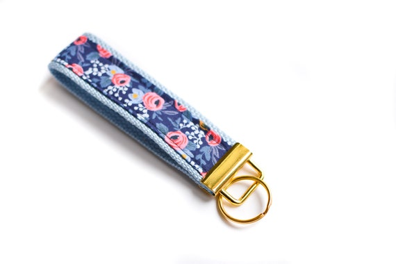 73267083a190 Fabric Key Chain, Floral Key Fob Wristlet, Gift for Teen Girl, Navy Key  Wristlet, Rifle Fabric Keychain Blue Wrist Key Chain New Driver Gift