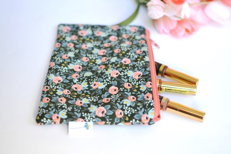 Rifle Paper Co Green Zipper Pouch Mini Clutch Purse Floral Makeup Bag Small Gift for her Green Bridesmaid Gift Rosa Floral Zipper Bag