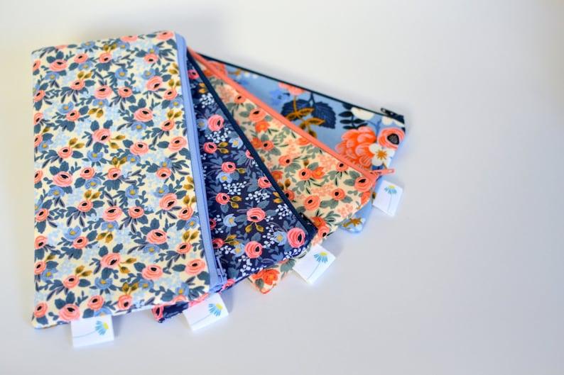 Rifle Fabric Zippered Bag Cute Pencil Case Floral Pen Bag for makeup Blue Pencil Pouch Floral Makeup Bag Stocking Stuffer Gift under 20