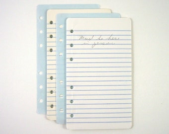 """Small Memo Book Filler, 57 Sheets, Six Holes, Narrow Ruled Paper, Vintage Little Binder Refill Pages, Just Under 3-1/2"""" Wide, 6"""" Long"""