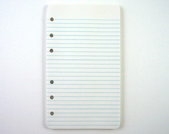 """Small Memo Book Filler, 49 Sheets, Six Holes, Extra Narrow Ruled Paper, Vintage Little Binder Refill Pages, 3-1/2"""" Wide, 6"""" Long"""