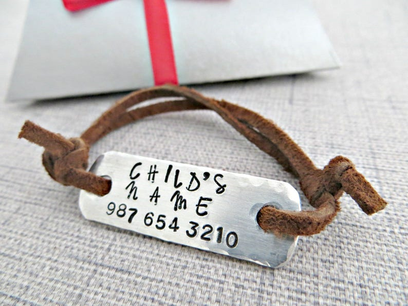 Custom Child ID bracelet Gift box included hand stamped