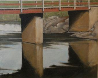 Original oil landscape with bridge over river - 16x20
