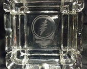 Grateful Dead Etched Glass Tray   Steal Your Face, Dancing Bear, Jerry Garcia Hand, 13 Point Lightning Bolt