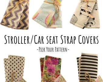 Stroller Strap CoversInfant Car Seat CoversPushchair CoversSeat Belt CoversCar AccessoriesPram AccessoriesFloralStripes