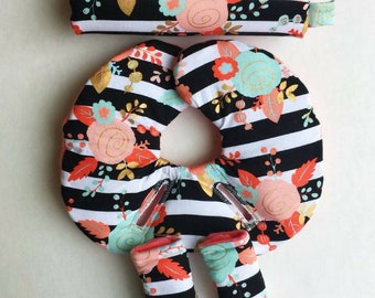 Car Seat Head Support For Newborns Infant Insert Strap CoverCar SupportArm PadCoral Floral2 Size