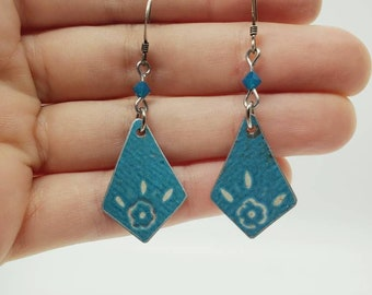 Geometric filigree lampwork glass earrings upcycled with vintage posts Repurposed eco friendly jewelry Anniversary Birthday gift for her