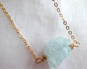 Raw aquamarine pendant- Gold filled wire wrapped raw gemstone necklace- Blue Aquamarine crystal pendant- Boho women fashion pendant-gift