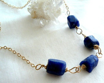 Ink blue raw sodalite gemstone necklace- Rough stone gold filled necklace- Wire wrapped sodalite necklace- Raw stone jewelry-Women gift