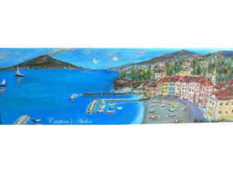 Sorrento vista oil painting- Italian coast blue painting- Panoramic original oil canvas- Seascape volcano art -Size 4x12in- Small art gift