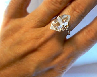 Herkimer diamond gold ring -Gold filled wire wrapped size 8 ring- Double terminated diamond ring- Jewelry clear gemstone ring- Women gift