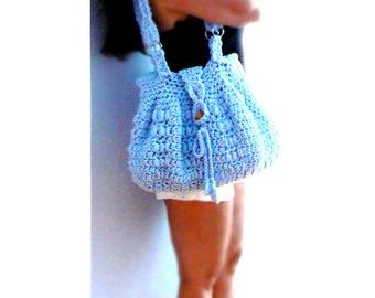 Blue crochet handbag. Toggle boho crochet purse, tote. Textured tab crochet bag. Blue boho crochet purse. Chic crochet handbag