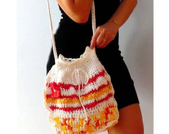 Mosaic crochet purse. Crochet shoulder purse. Red yellow white cotton women handbag. Boho purse. Multi color women  crochet bag