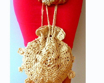 Round crochet handbag- Lace vintage inspired crochet purse-Handmade wedding round beige purse- Victorian lace bag- Boho purse gift