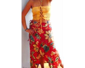 Floral print wrap skirt- Flowers boho maxi skirt,elegant red print skirt -Fashion linen ruffle skirt- women wrapped skirt-Formal party skirt