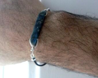 Kyanite bar leather bracelet-Boho raw gemstone men bracelet- Men kyanite bracelet gifts- Jewelry fashion bracelet