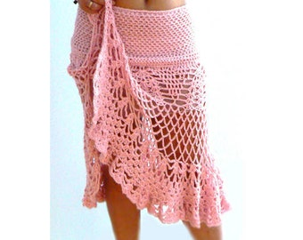 Pink crochet slit skirt- Ruffle sexy crochet skirt-Handmade stretch skirt-Fashion boho crochet skirt-Flared crochet skirt-Women party skirt