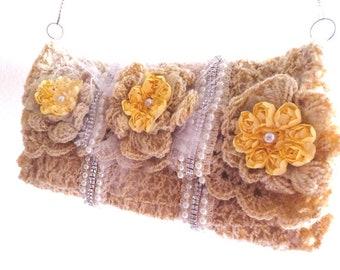 Flowers embellished rhinestones crochet clutch-Vintage inspired handbag.Chic shimmer bag-Handmade boho crochet purse-Wedding,occasion clutch