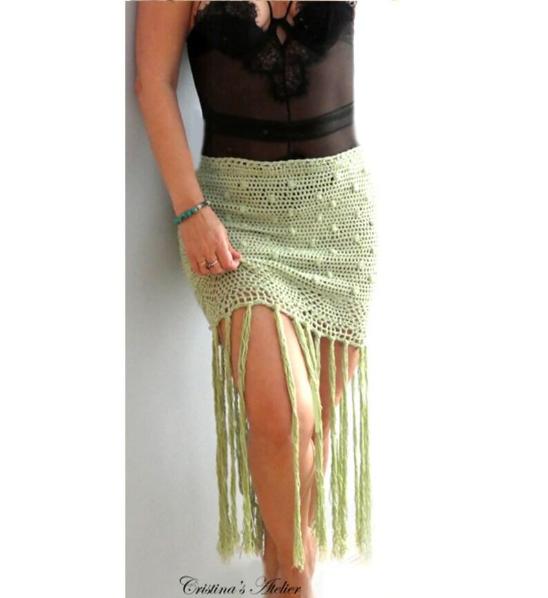 Fringe Dots Crochet Maxi Skirt Handmade Eco Friendly Skirt Etsy