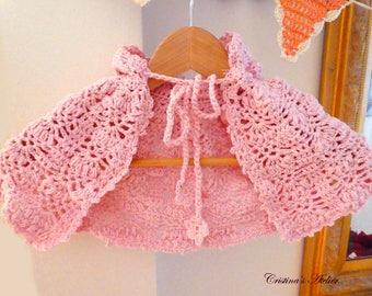 Baby crochet hoodie poncho-6 month baby -pink crochet capelet-Crochet clothing celebration,Christening ,Baptism,ocassion crochet jacket-Gift