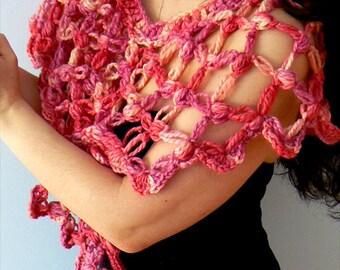 Spring blooms alpaca crochet shawl. Handmade multi color wool crochet scarf. Women crochet alpaca shawl.Boho elegant crochet shawl