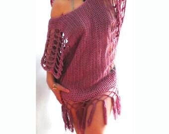 Bikini crochet fringe coverup top -bikini tunic top-Boho crochet fringe sweater- Loose crochet blouse-purple top-loose sleeves women top