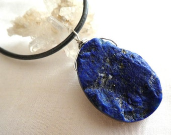 Raw lapis pendant- Blue druzy gemstone sterling silver pendant- Rough blue oval large stone pendant- Unisex jewelry pendant- gift
