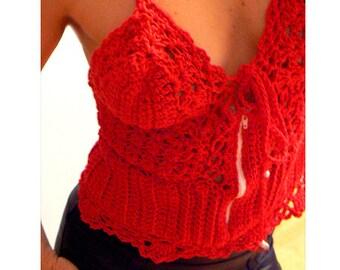 Red crochet zipper top-sport tank top- sexy crochet corset top- Size Small-Women fashion crochet tank- crochet zipper tank- women gift