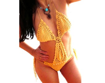 Yellow crochet monokini bikini- hot swimsuit-Women sexy bathing suit- lace crochet monokini-Crochet one piece-custom monokini- Bikini gift