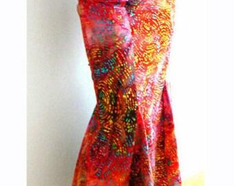 Red mermaid maxi skirt- Red swirls print fitted skirt- Elegant occasions skirt, party skirt- Women mermaid skirt- Fashion red cotton skirt